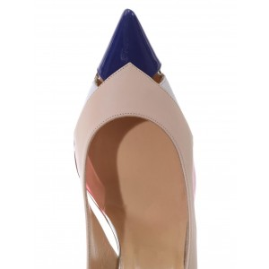 Multi-color Slingback Pumps Pointy Toe Stiletto Heels for Ladies