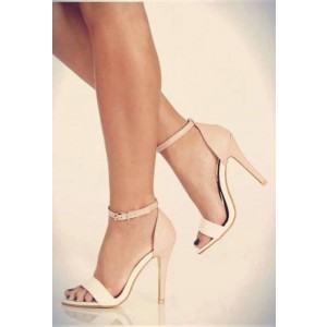 Women's White and Blush Ankle Strap Sandals Stiletto Heels Dress Shoes