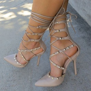 Nude Strappy Heels Pointed Toe Rivets Shoes Stiletto Heels Pumps