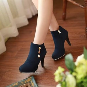 Navy Heeled Boots Suede Chunky Heel Metal Embellishment Short Booties