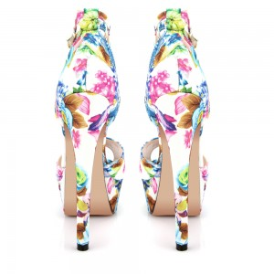 Colorful Floral Printed T-Strap Stiletto Sandals
