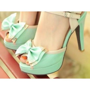 Mint Green Peep Toe Heels Cute Sandals with Platform