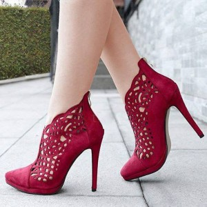 Burgundy Stiletto Heels Suede Hollow out Pointy Toe Pumps