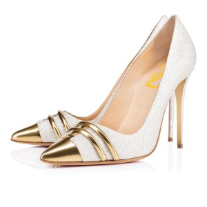 Golden and Silver Glitter Wedding Shoes Stiletto Heel Bridal Pumps