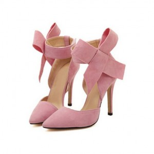 Pink Stiletto Heels Suede Bow Closed Toe Double D'orsay Pumps for Prom