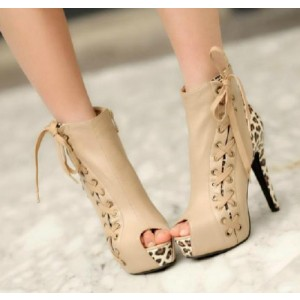 Women's Beige Side Ties Leopard Lace Up Heels Ankle Boots