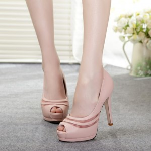 Chloe Pink Lace Pumps