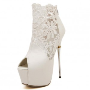 White Wedding Shoes Lace Peep Toe Stiletto Heels Platform Ankle Booties