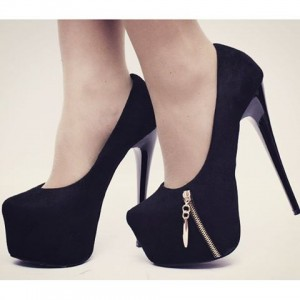Black Suede Side Zipper Platform Heels Pumps High Heel Shoes
