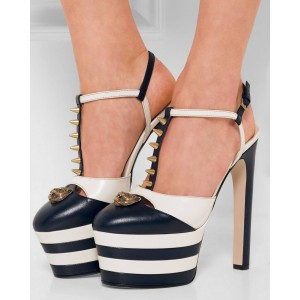 Black and White Heels Slingback Platform Sandals High Heels Shoes