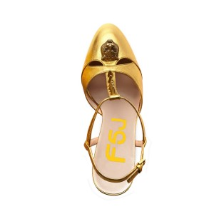 Women's Golden Rivets Decorated T-Strap Super High Heel Sling Back Sandals
