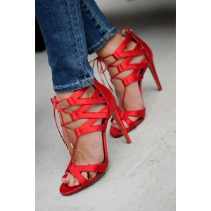 Red Satin Stiletto Heels Lace up Sandals Peep Toe Sandals with Zip