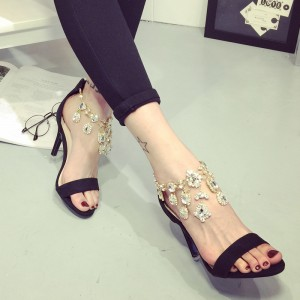 Leila Black Crystal Ankle Strap Stiletto Heel Sandals