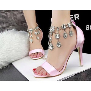 Chloe Pink Crystal Ankle Strap Sandals