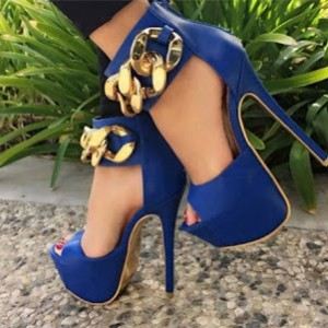 Women's Blue Platform Heels Ankle Strap Stiletto Heels with Metal Chain Pumps