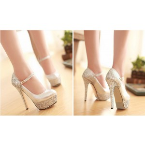 Women's Silver Mary Jane Pumps Sparkly Heels Platform High Heel Shoes