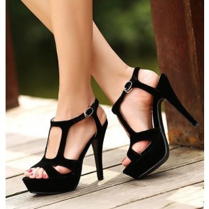 Black Platform Sandals Suede Open Toe High Heel Shoes