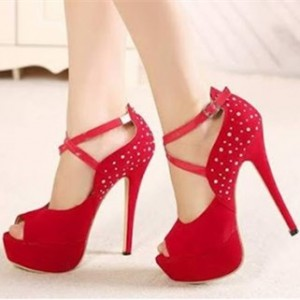 Women's Coral Red Platform Cross-over Ankle Straps Pumps Bridal Heels