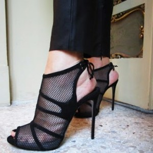 Black Peep toe Mesh Summer Boots Back Lace up Stiletto Heel Sandals
