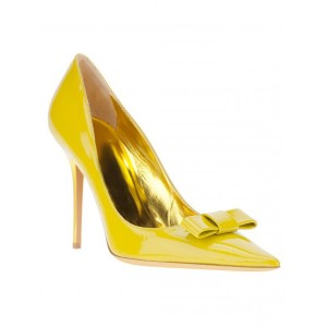 Yellow Stiletto Heels Front Bow Pointed Toe Cute Pumps