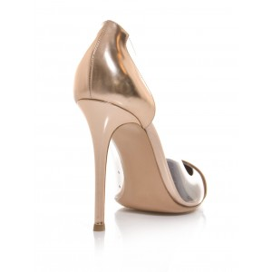 Women's Champagne Dress Shoes  Pointy Toe Stiletto Clear Heels Pumps