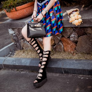 Women's Wedge Heel Leila Black Strappy Shoes Sandals Gladiator Heels