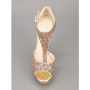 Champagne T-strap Sequined Sandals