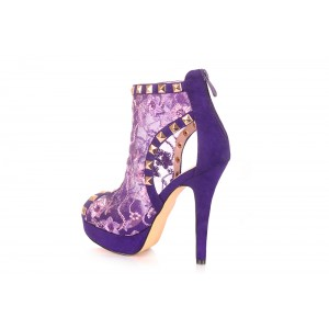 Purple Peep Toe Lace Heels Platform Ankle Boots with Rock Studs