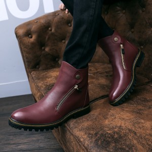Burgundy Metal Ornament Ankle Boots