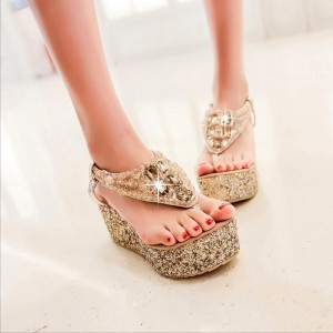 Gold Glitter Shoes Jeweled Sandals Platform Shoes