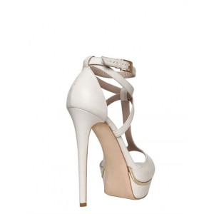 White T Strap Sandals Ankle Strap Open Toe Platform Stiletto Heels