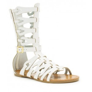 Lillian White Flat Gladiator Sandals