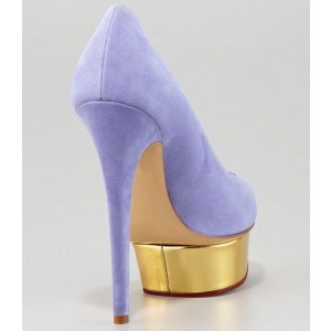 Viola Purple Suede Gold Platform Heels Low-cut Uppers Stiletto Heels