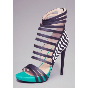 Turquoise and Black Platform Sandals 4 Inch Heels Stilettos Shoes