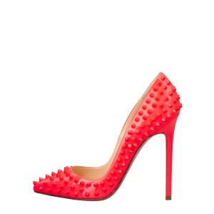 5 Inch Heels Coral Red Pointed Toe Rivets Stiletto Heels Pumps