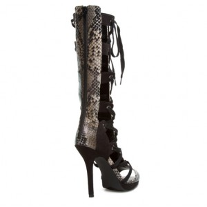Women's Leila Black Python Strappy Heels Lace-up Stiletto Heel Sandals