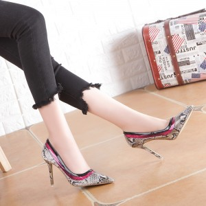 Grey 4 Inch Heel Python Pointy Toe Stiletto Heels Pumps