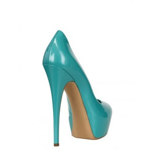 Cyan Commuting Almond Toe Low-cut Uppers Platform Stiletto Heel Pumps