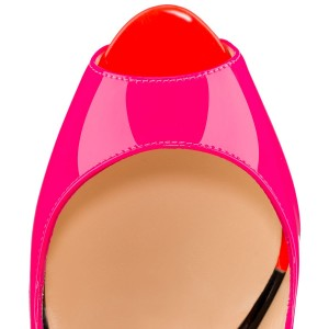 Hot Pink Peep Toe Stiletto Heel Slingback Pumps