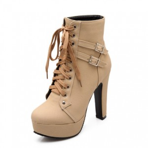 Nude Platform Chunky Heel Boots Lace up Ankle Booties