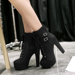 Leila Black Lace-up Ankle boots