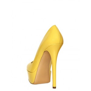 Women's Daisy Yellow Almond Toe Low-cut Uppers Platform Heels Stiletto Heel Pumps