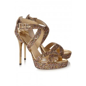 Women's Gold Glitter Shoes Open Toe Platform Sandals Evening Shoes