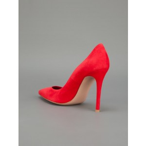 Coral Red Commuting Low-cut Uppers Pointed Toe Stiletto Heel Pumps