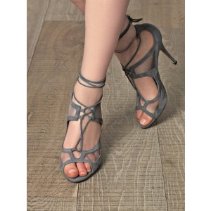 Vita Grey Peep Toe Lace-up Strappy Stiletto Heel Sandals