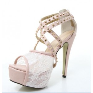 Light Pink Wedding Sandals Lace Studded Strappy Platform Heels