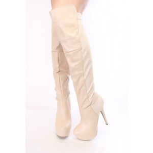 Beige Platform Boots Knee-high Boots Stiletto Heels