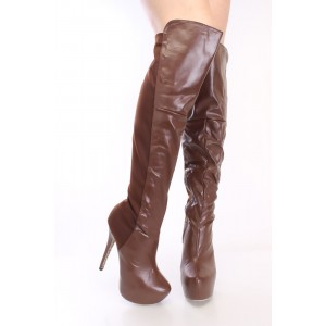 Doris Brown Almond Toe Platform Slip-on Stiletto Heel Knee-high Boots
