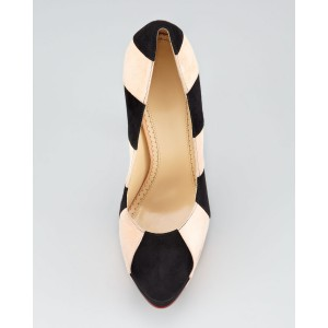 Black and Beige Stripes Platform Heels Stilettos Suede Pumps