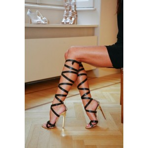 Women's Leila Black Open Toe Crossed-Over Strappy Heels Golden Stiletto Heel Sandals